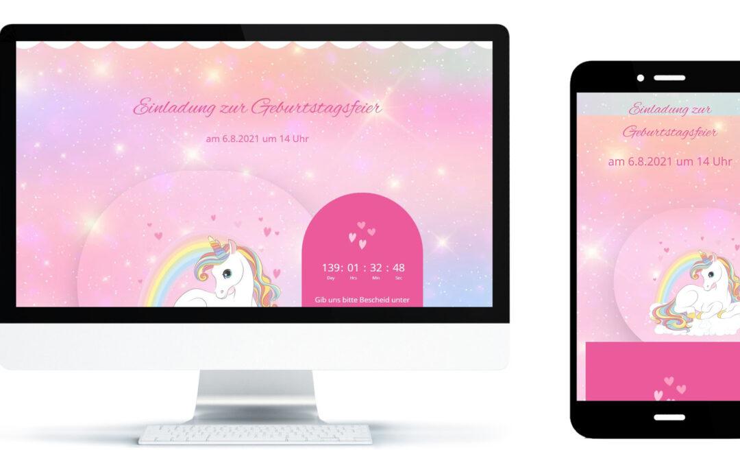 Geburtstag online Style Einhorn